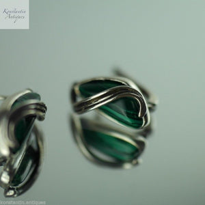 Vintage malachite and sterling silver earrings stunning