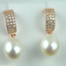 Load image into Gallery viewer, Stylish gold plated sterling silver cultured pearls earrings CZ Lucoral 925