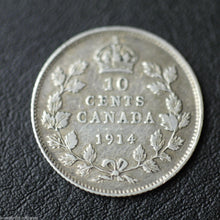 Load image into Gallery viewer, Antique 1914 silver coin 10 cents King George V of British Empire Canada