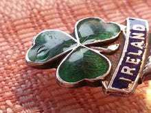 Ireland 20thC solid silver enamel spoon Green clover on the top brougham 925 N