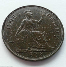 Load image into Gallery viewer, Vintage 1938 coin 1 penny George Vl of British Empire 20thC London