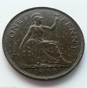 Vintage 1938 coin 1 penny George Vl of British Empire 20thC London