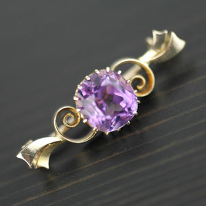 Antique 4.30ct Siberian Amethyst 14ct gold pin brooch 56 Russian Empire