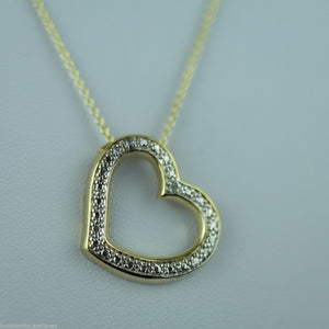 Sterling silver 18ct Gold over Heart pendant with diamonds on chain