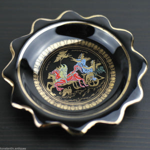 Vintage hand made 24ct Gold plate pottery ashtray plate Greek Royal black gift