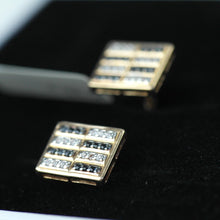 Load image into Gallery viewer, Stunning 14k gold cufflinks with 48 Cubic Zirconia clear & black gems