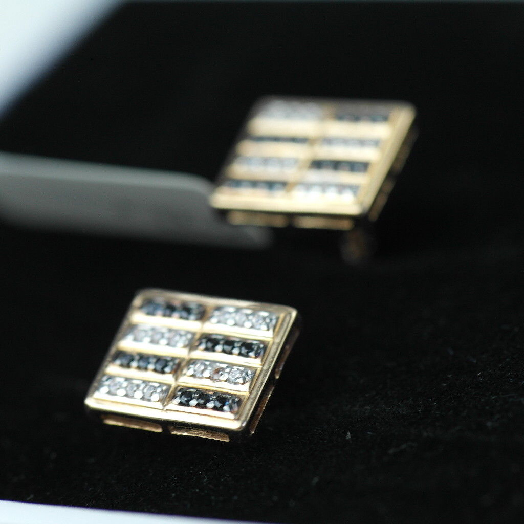 Stunning 14k gold cufflinks with 48 Cubic Zirconia clear & black gems