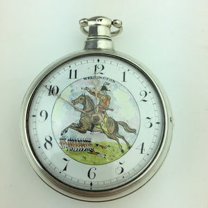 Antique Georgian 19thC solid silver verge fusee pocket watch Royal Wellington