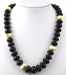 Genuine Baltic Amber beads necklace White egg yolk Dragon blood