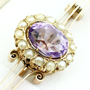 Antique Russian Empire 56 gold brooch with Amethyst and seed pearls cluster