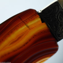 Load image into Gallery viewer, Antique agate and solid silver letter opener page turner with Nacre handle