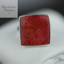 Vintage sterling silver ring red coral square