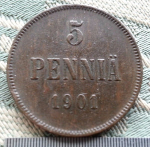 Antique 1901 coin 5 kopeks pennia Emperor Nicolas II of Russian Empire Finland