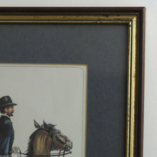Vintage Americas USA solder & horse print framed Artillery officer Battery 1861