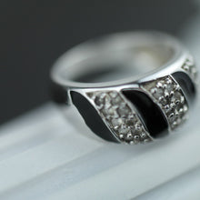Load image into Gallery viewer, Modern sterling silver ring black enamel with CZ stones Scandinavian style 925
