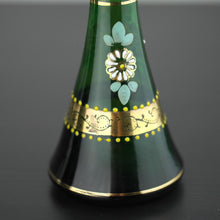 Load image into Gallery viewer, Antique gild green glass vase Bohemian style