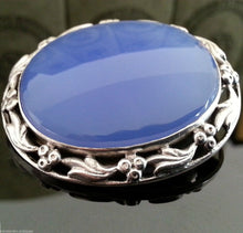 Load image into Gallery viewer, Vintage 1963 sterling silver brooch blue Chalcedony Agate gemstone solid gift