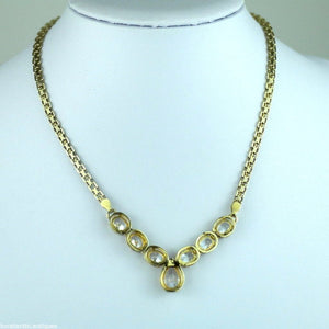 Vintage gold layered sterling silver necklace Swarovski Crystals Italy 925
