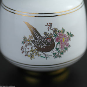 Vintage Greek 24ct Gold plated white pottery vase jug Pheasant in flowering bushes