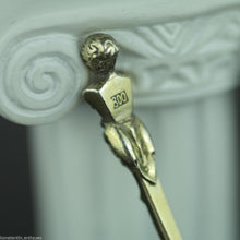Load image into Gallery viewer, Antique 1787 gold plated solid silver 20 Kreuzer coin spoon IOSEPH Austrian Empire 800 German