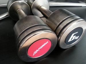 New Life Fitness Pair of 6 kg Nickel Dumbbells with safety rubber lines 2x6