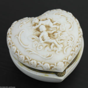 Antique stunning porcelain jewellery box angels puti statue great gift