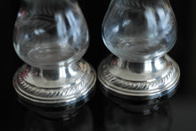 Load image into Gallery viewer, Antique Pepper salt pot casters glass sterling silver bottom Quaker NEWPORT