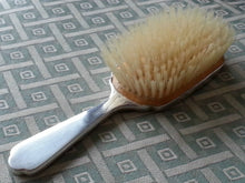 Load image into Gallery viewer, Vintage 1946 sterling silver guilloche enamel solid brush Daniel Manufacturing
