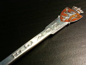 Art Deco solid silver enamel spoon Norway Norge Aksel Holmes of Christiania gift