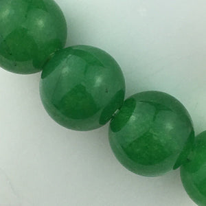 Green jade 13mm beads bracelet on elastic cord