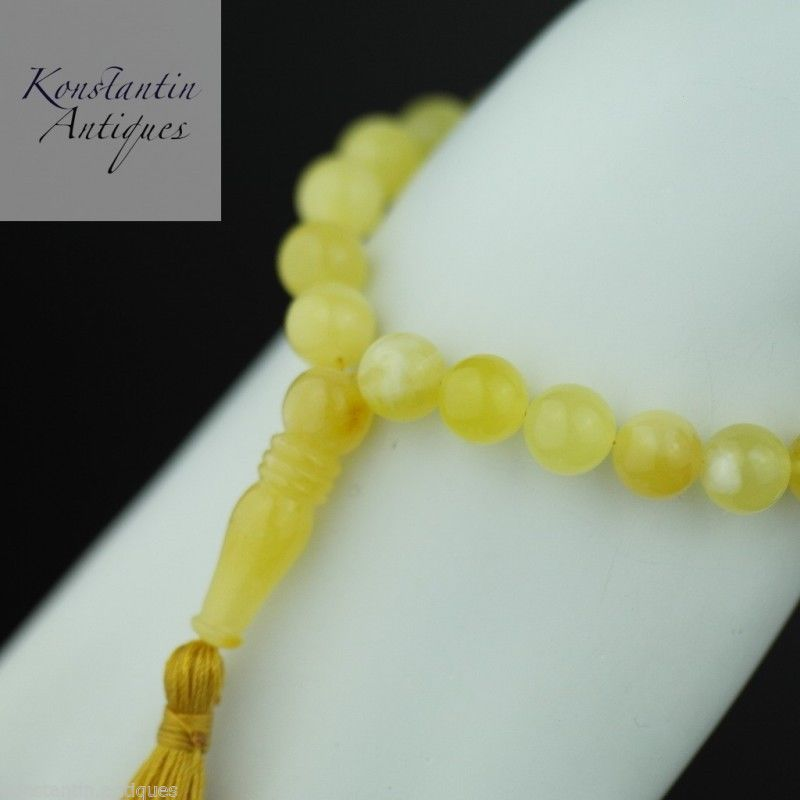 Genuine Baltic Amber beads 9mm Islam Tesbih Rosary White egg yolk
