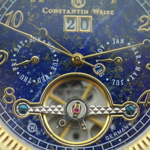 Automatic 35 jewels Open heart wrist watch Constantin Weisz Day Month Blue gild
