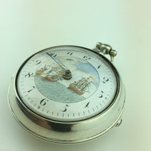 Load image into Gallery viewer, Antique Georgian 19thC solid silver verge fusee pocket watch Royal Galleon