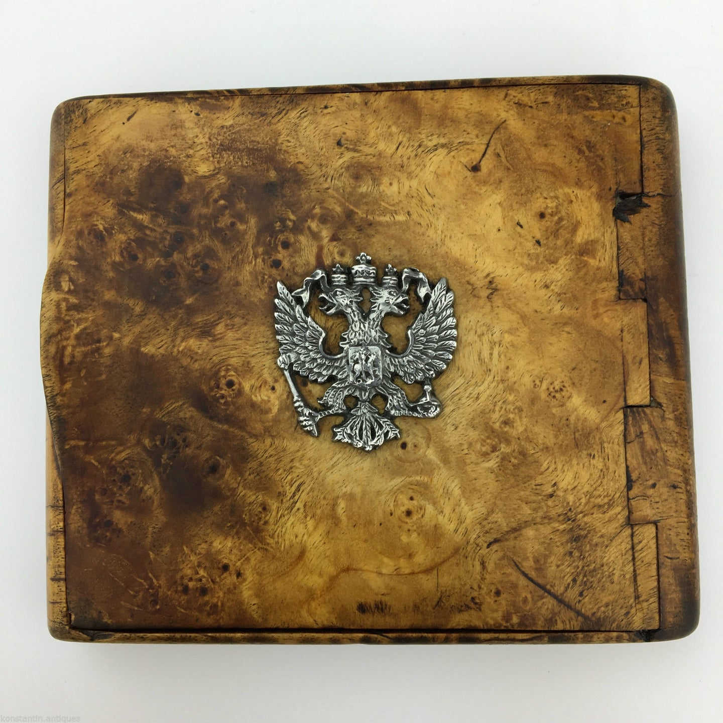 Antique Karelian birch wooden cigarette case with Russian Impire double-headed eagle