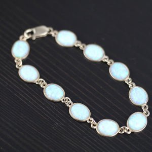 Vintage 375 yellow gold tennis bracelet 7.50ct white crystal Opal cabochon 9ct