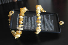 Vintage Genuine Raw Baltic Amber stones beads bracelet on steel adjustable cord