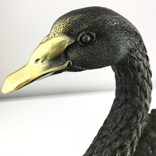 Load image into Gallery viewer, Vintage Black Swan in Bronze by Milo on the marble base French Mark