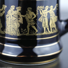 Vintage hand made 24ct Gold plated pottery tankard mug Greek black solid gift