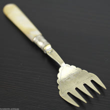 Load image into Gallery viewer, Antique solid table fish fork with mother of pearl handle Sheffield silver plate