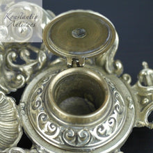 Load image into Gallery viewer, Antique solid brass double inkwell ornamented British Empire