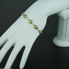 Load image into Gallery viewer, Antique 20thC solid silver enamel flowers bracelet chain gold plated