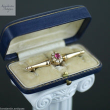 "Antique c.1909 Imperial Russian 56 gold brooch with ruby and pearls - ""Au Diamant du cap"""