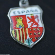Load image into Gallery viewer, Vintage enamel solid silver charm pendant ESPANA rare SPAIN 800 nice gift