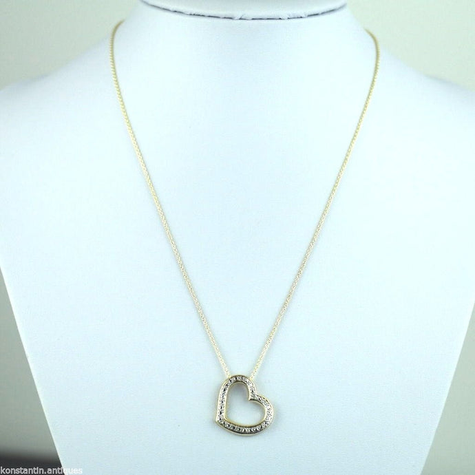 18K Gold Over sterling silver diamond accent Heart pendant on chain