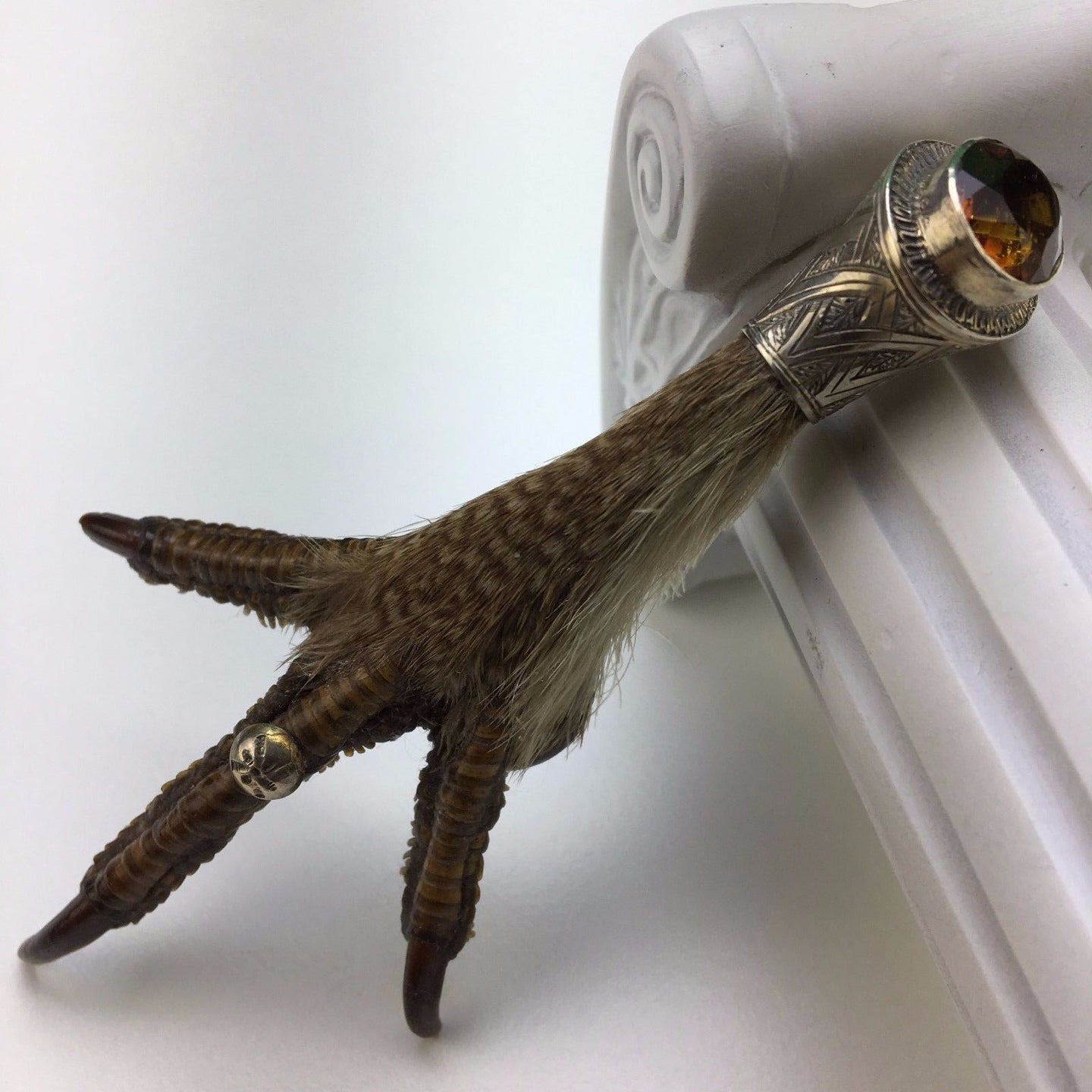 Antique solid silver stoned Scottish Eagle Claw Citrine pin brooch
