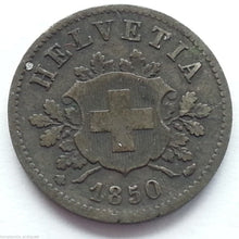 Antique 1850 silver 10 coin Swiss Helvetia Switzerland solid gift