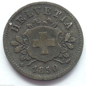 Antique 1850 silver 10 coin Swiss Helvetia Switzerland