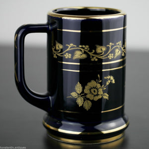 Vintage hand made 24ct Gold plated pottery tankard mug Greek blue solid gift