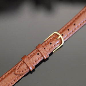 12 mm Watch Strap Brown genuine Leather Gold Plated Buckle great gift
