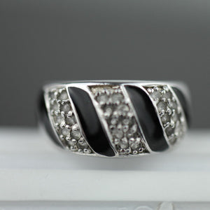 Modern sterling silver ring black enamel with CZ stones Scandinavian style 925